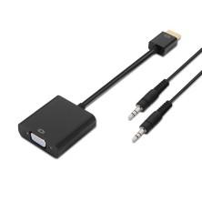 Conversor HDMI a SVGA+audio, HDMI A/M-SVGA/H+Jack 3.5/H, negro, 10cm+1.0m
