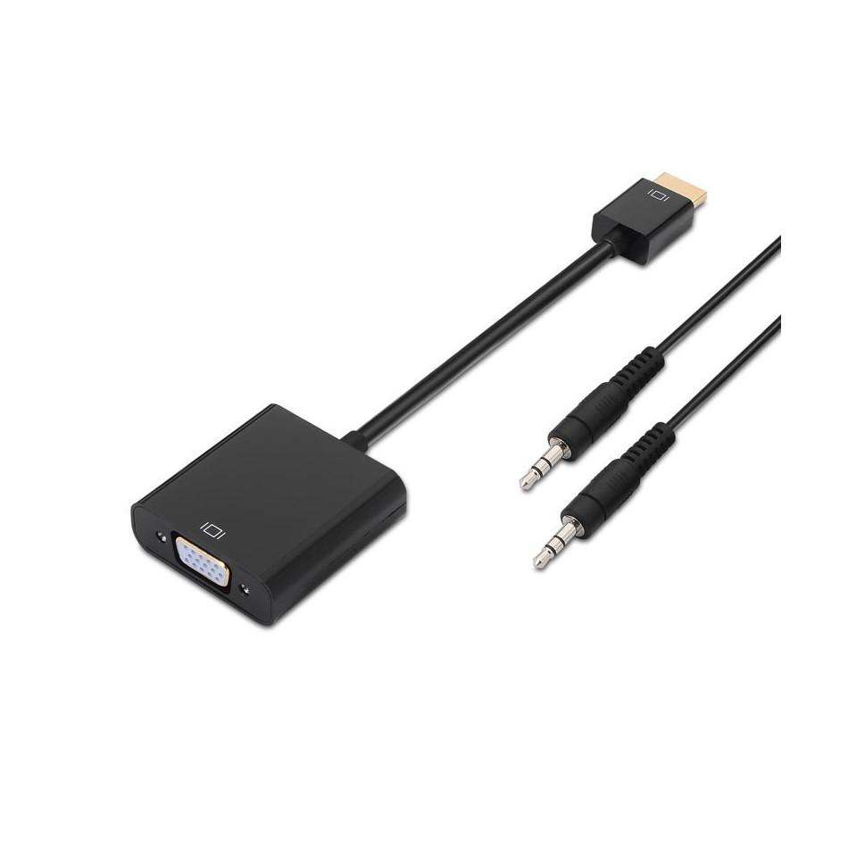 Comprar Conversor HDMI a SVGA+audio, HDMI A/M-SVGA/H+Jack 3.5/H, negro, 10cm+1.0m