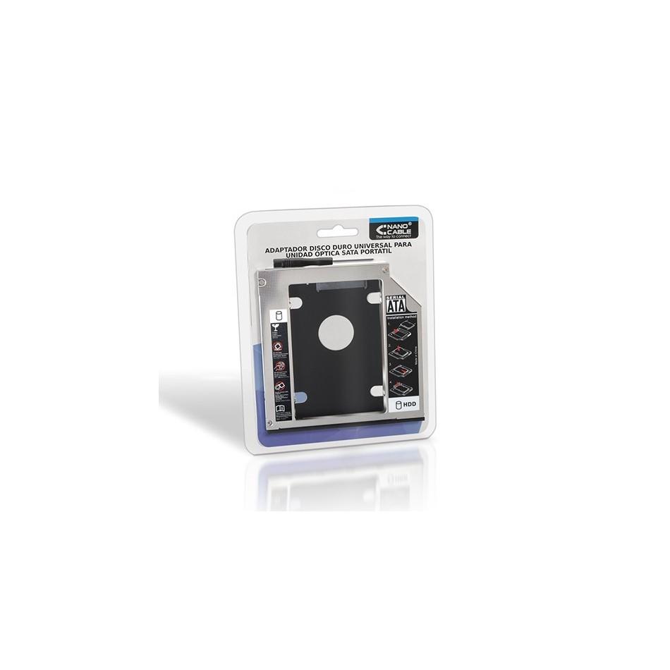 Comprar ADAPTADOR PARA PORTATIL PARA SUSTITUIR DVD DE 9.5MM POR HD/SSD DE 2.5'/6.35CM 7MM - SATA