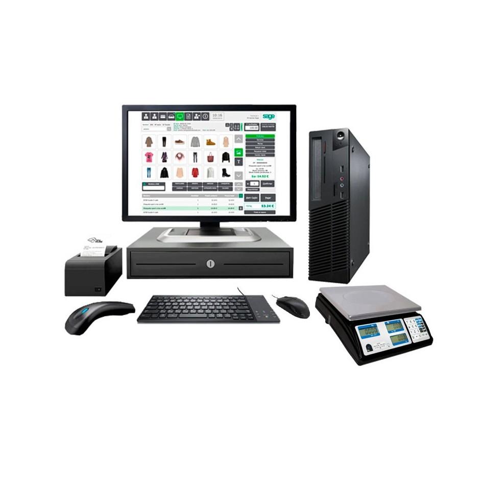 """Comprar TPV MEDIUM GOLD  ( Monitor  Táctil 15"""" + IMPRESORA TICKET + CAJON + LECTOR CODIGO BARRAS + VISOR + BALANZA)"""