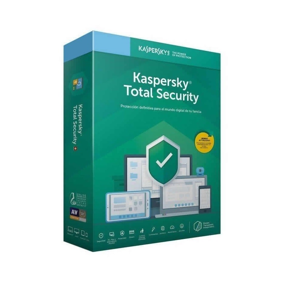 Comprar ANTIVIRUS KASPERSKY TOTAL SECURITY 2020  5 DISPOSITIVOS  1 AÑO  NO CD