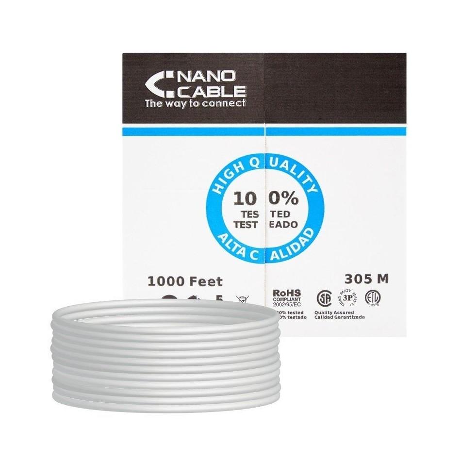 Comprar BOBINA DE CABLE NANOCABLE 10.20.0304   RJ45   CAT5E   UTP   AWG24   305M   GRIS