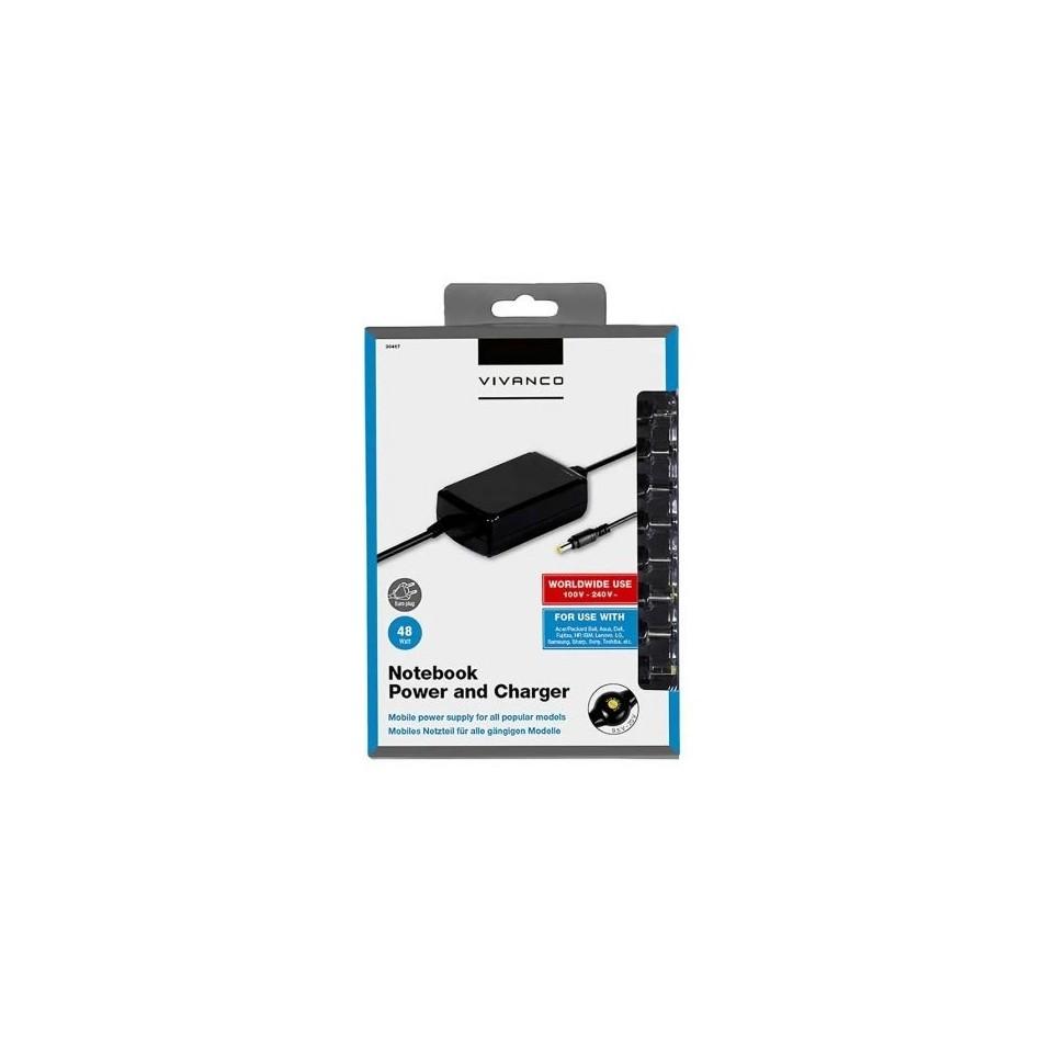 Comprar Cargador de portatil vivanco 30467 48w manual 10 conectores voltaje 9.5-20v