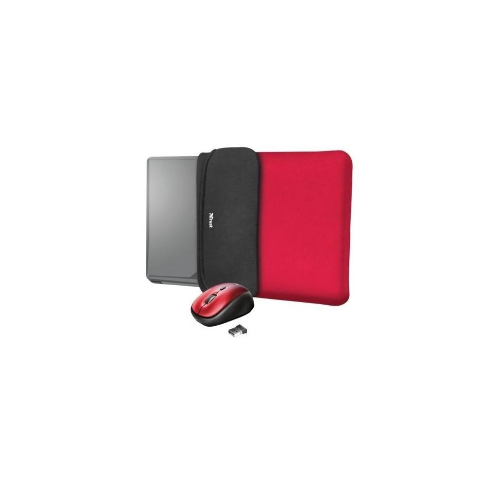 Comprar Funda + raton inalambrico trust yvo para portatiles hasta 15.6' rojo